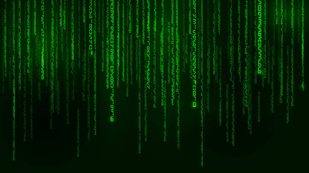 background in a matrix style. falling random numbers. green is dominant color. vector illustration - algorithm stock illustrations