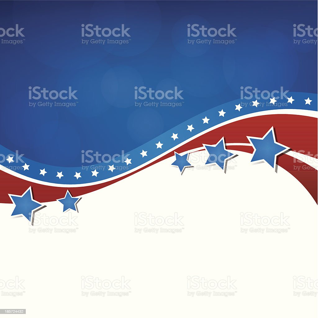 Background in American flag colors with stars and stripes vector art illustration