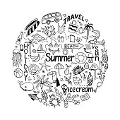 Background in circle with summer set of isolated cute white imag