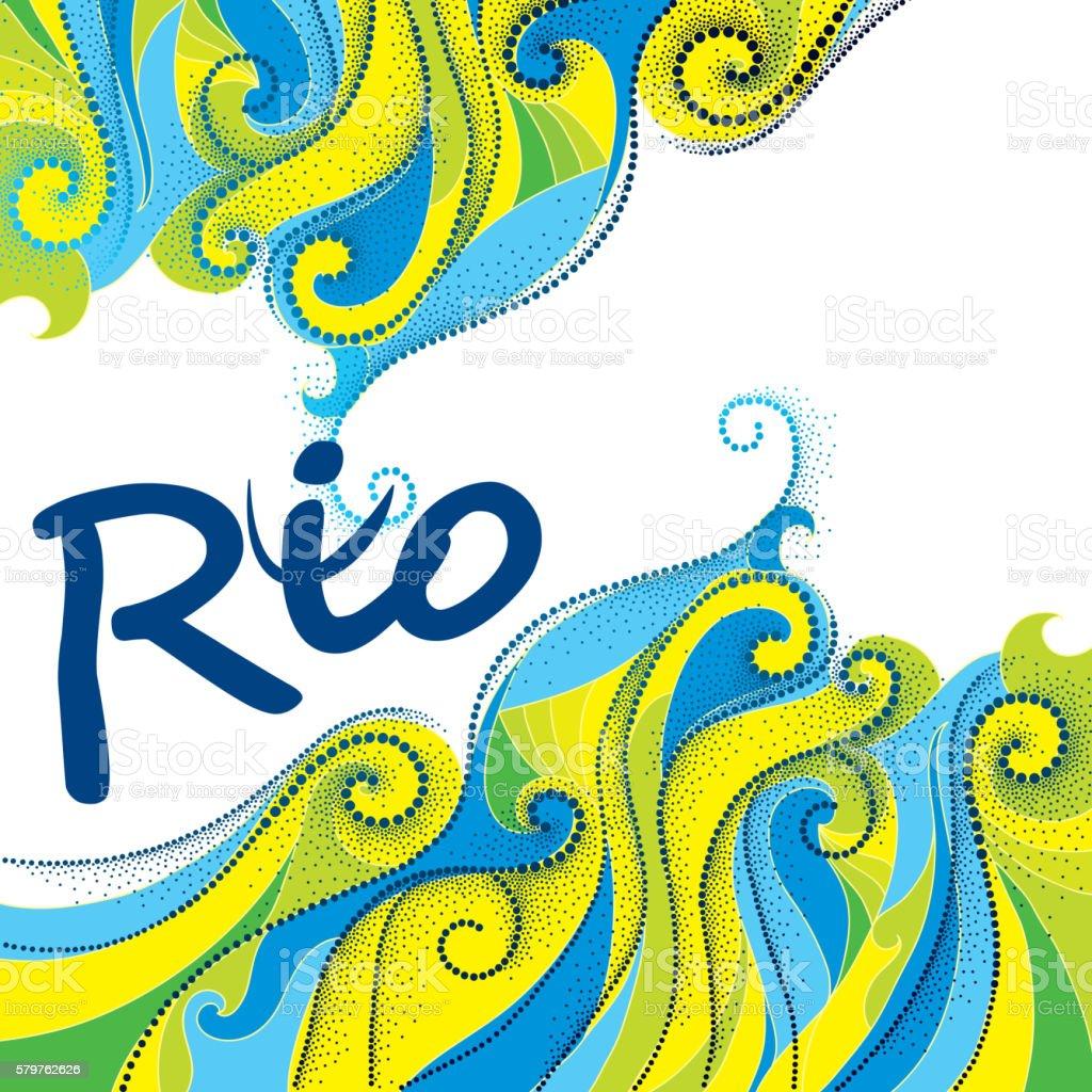 Background in colors of Brazilian flag vector art illustration