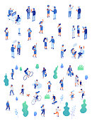 Outdoor activity. Park. Business people in office. Isometric vector characters isolated on white.