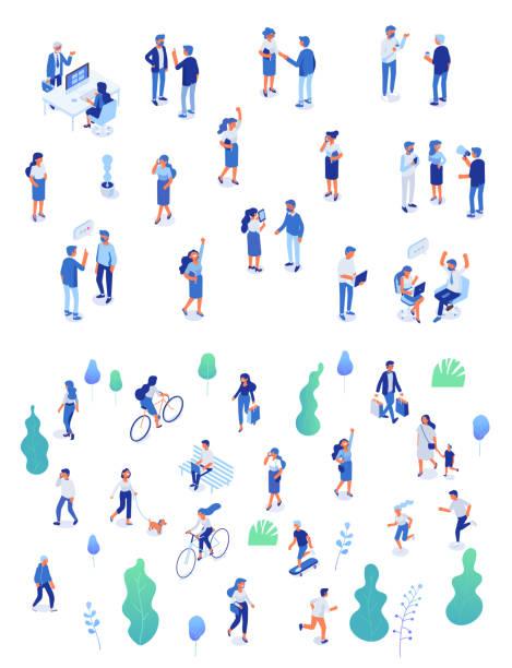 背景アイソメ人の文字。 - 歩く点のイラスト素材/クリップアート素材/マンガ素材/アイコン素材