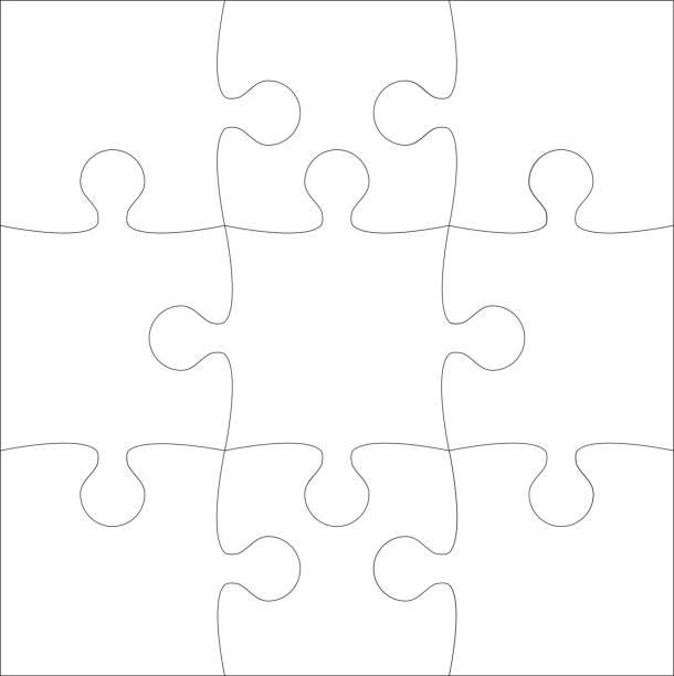 hintergrund puzzle 9 teile, details, elemente, teile. - puzzle stock-grafiken, -clipart, -cartoons und -symbole