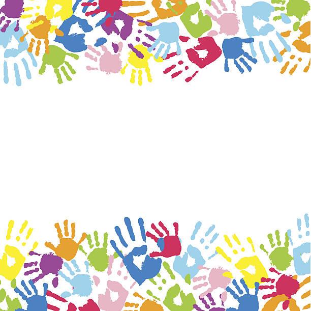 ilustraciones, imágenes clip art, dibujos animados e iconos de stock de a fondo de color handprints. - fondos escolares