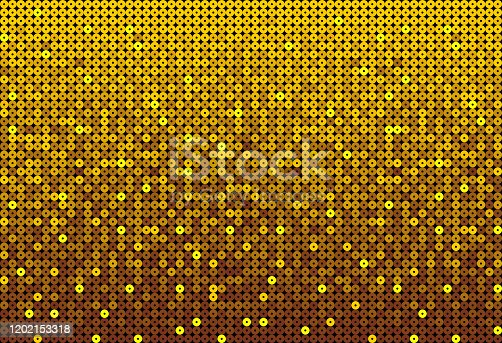 Gold sequins, glitters, sparkles, paillettes, mosaic background template. Abstract luxury halftone vector creative backdrop. Golden glitter rounds with gradient trendy. Shiny dots glitter texture.