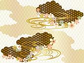 雲、波と桜の和柄の背景素材