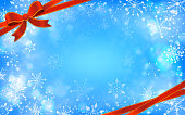 Background material of snowflake with ribbon Christmas image