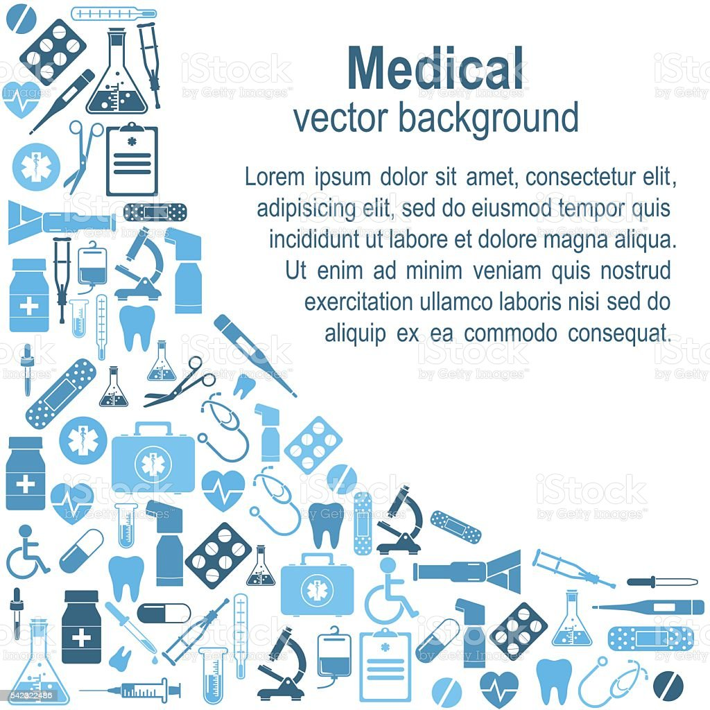 Background medical icons and sign vector art illustration