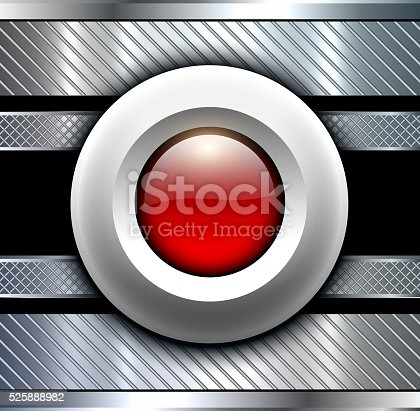 istock Background metallic with red button 525888982