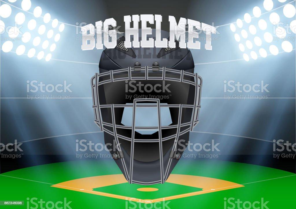 Background night baseball stadium vector art illustration