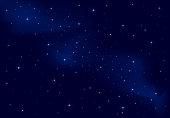Night background, shining Stars on dark blue sky, illustration