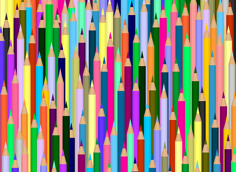 A background of a large number of colored pencils. Many rows of pencils one by one