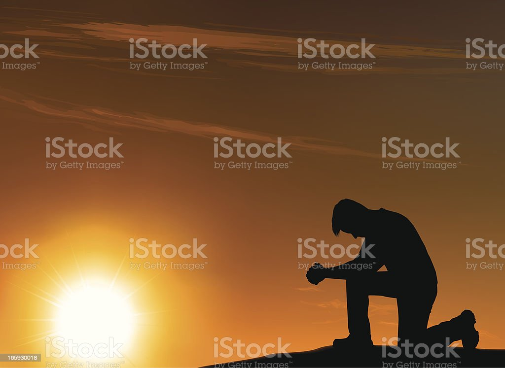 Background of an outlined kneeling man in front of a sunset vector art illustration
