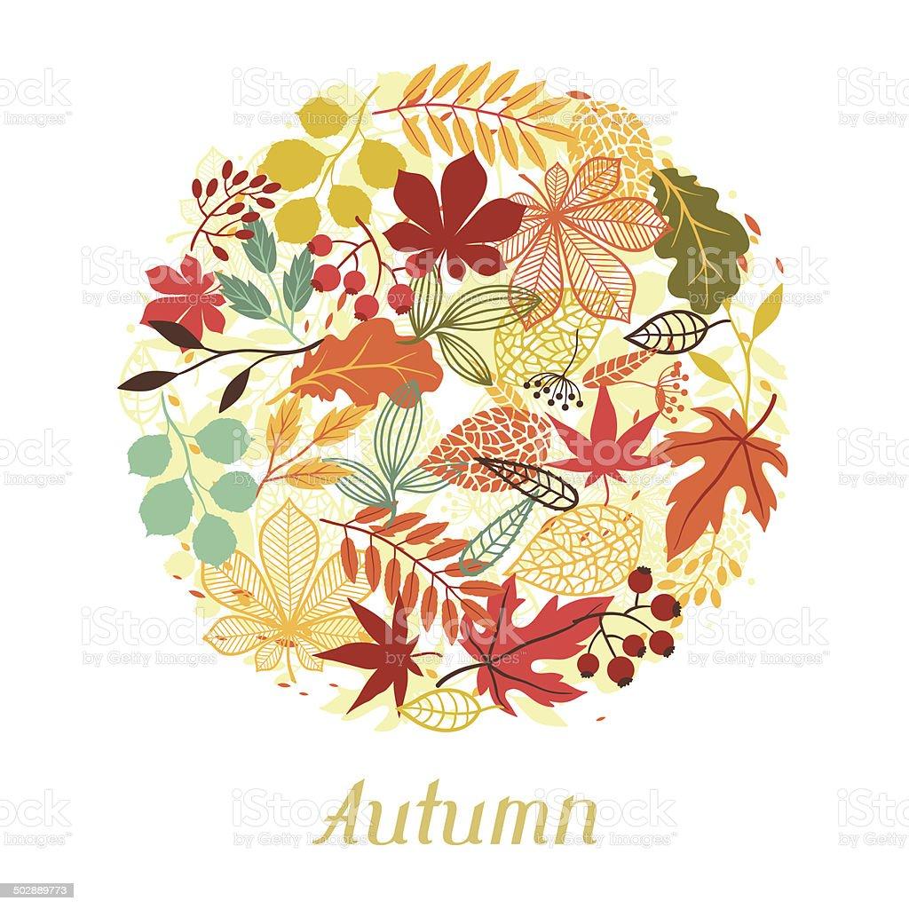 背景の秋の葉の形のグリーティングカード。 ベクターアートイラスト
