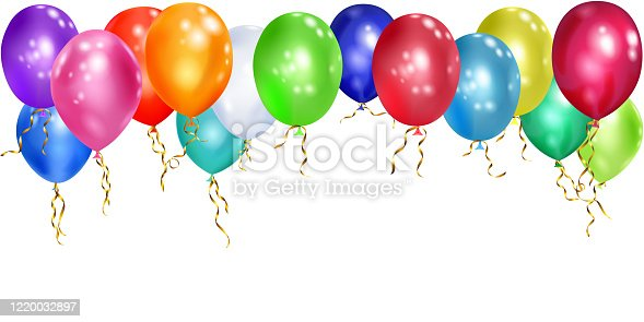 Illustration of colorful balloons with ribbons on white background