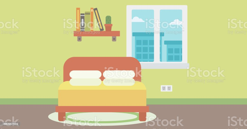 Background of bedroom vector art illustration