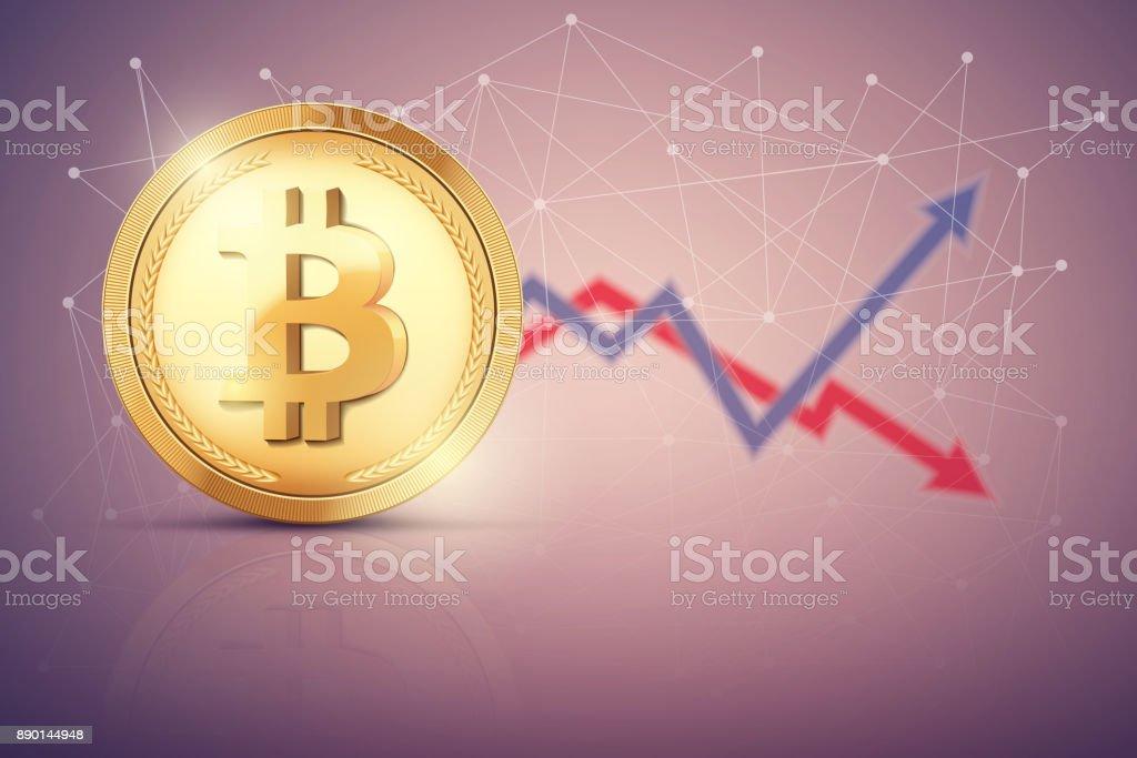 Background of Bitcoin exchange trading vector art illustration
