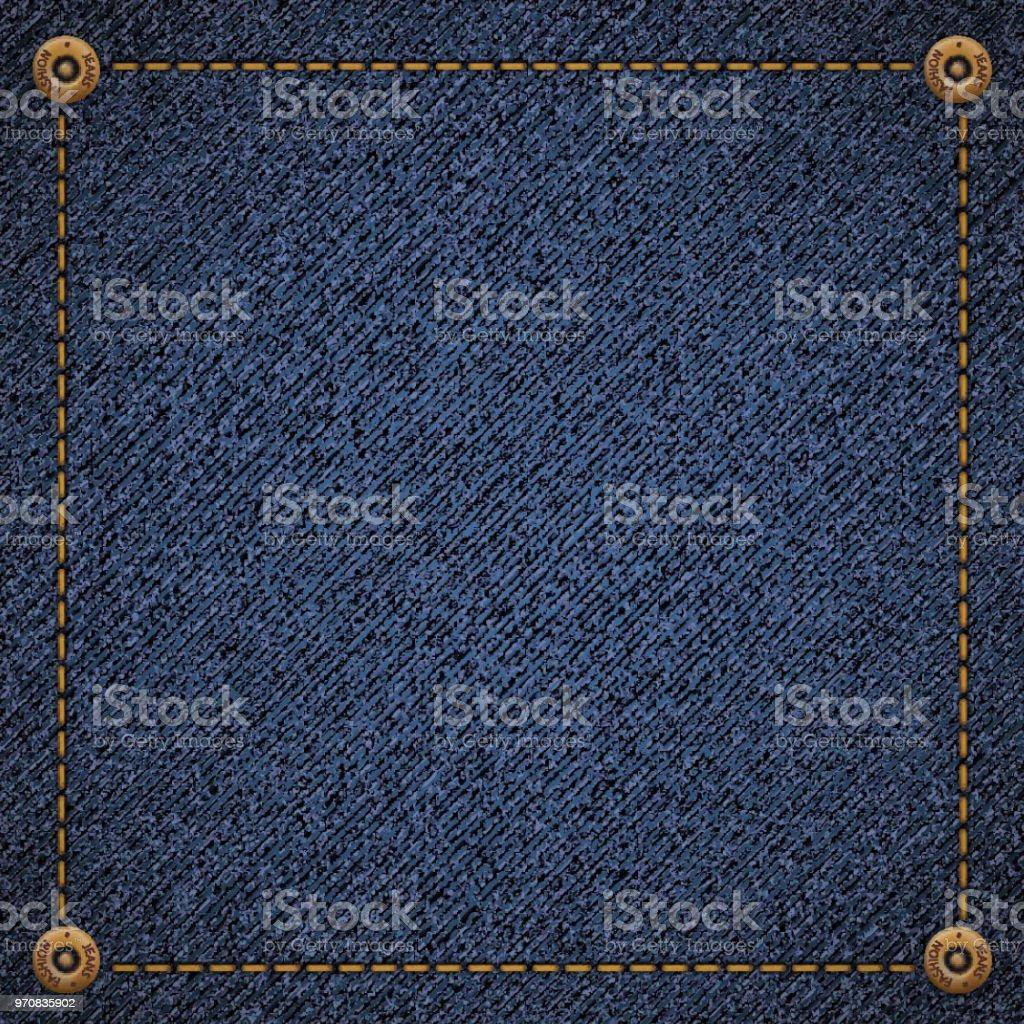 Background of blue denim fabric vector art illustration
