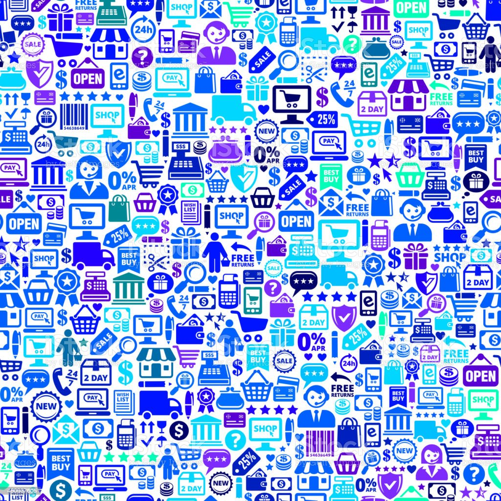 A background of blue icons relating to shopping and commerce vector art illustration