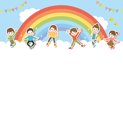 Background of children jumping cheerfully