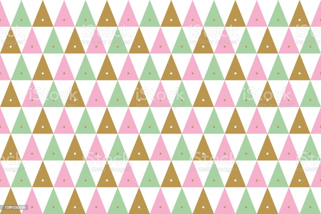 Background Of Christmas Patterns In Gold Pink And Green On White Stock Illustration Download Image Now Istock