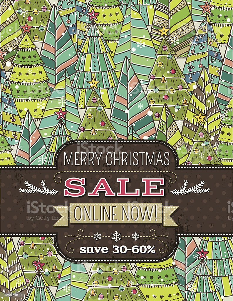 background of  christmas trees and label with sale offer royalty-free stock vector art