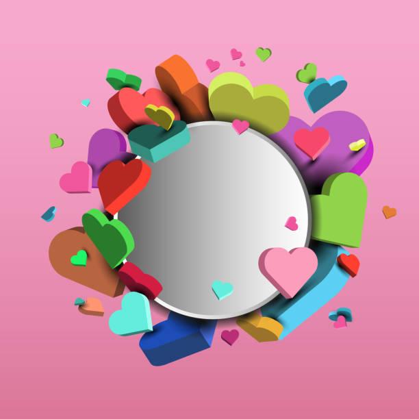 情人節和3月8日的多彩心靈背景-3D 向量 eps10向量藝術插圖