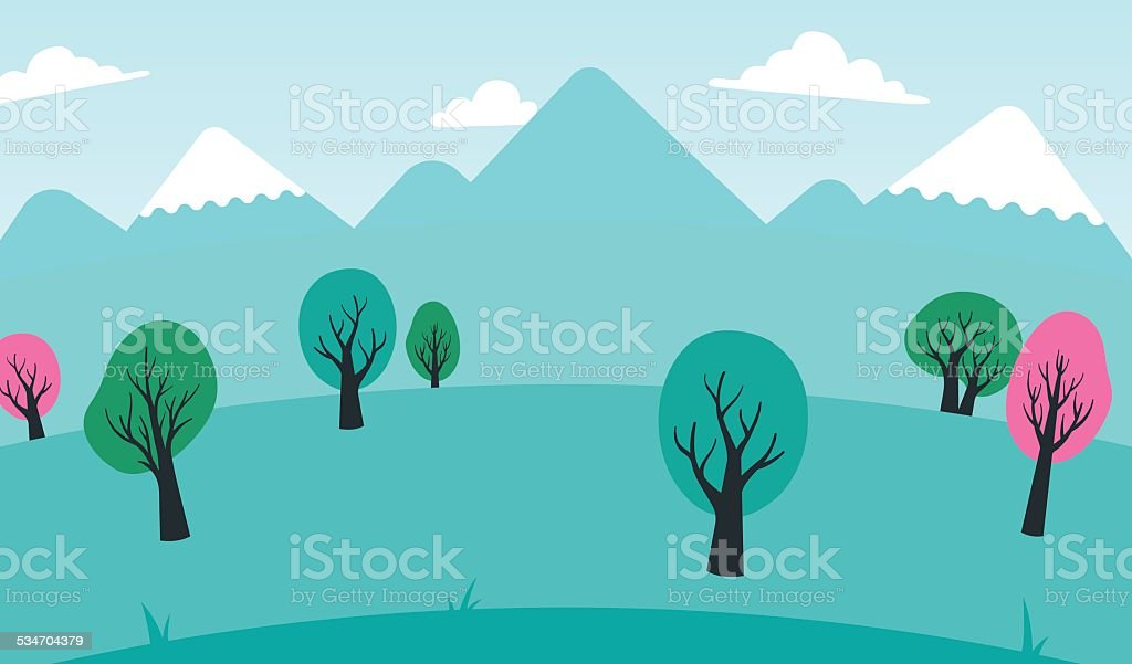 Background of colorful trees in a spring landscape vector art illustration