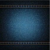 istock Background of dark blue denim with orange threading 165976636