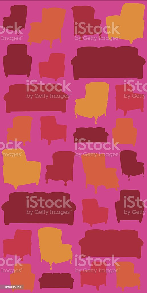 Background of different sofas in warm colors over pink royalty-free stock vector art