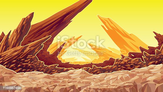 A high quality background of fantastic mountain landscape. Background of dry planet. Horizontal tiles. For use in developing, prototyping  adventure, side-scrolling games or apps.
