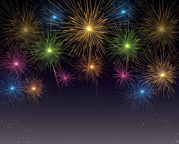background of fireworks summer, vector illustration back lit stock illustrations