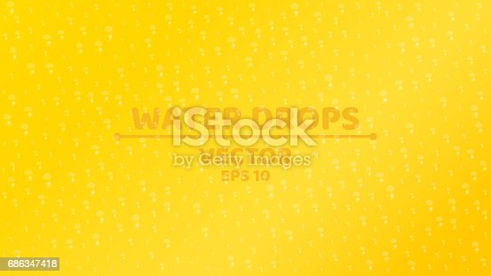 Background of fresh water drop. Ecological background. Clear glass. Realistic vector illustration. Orange background