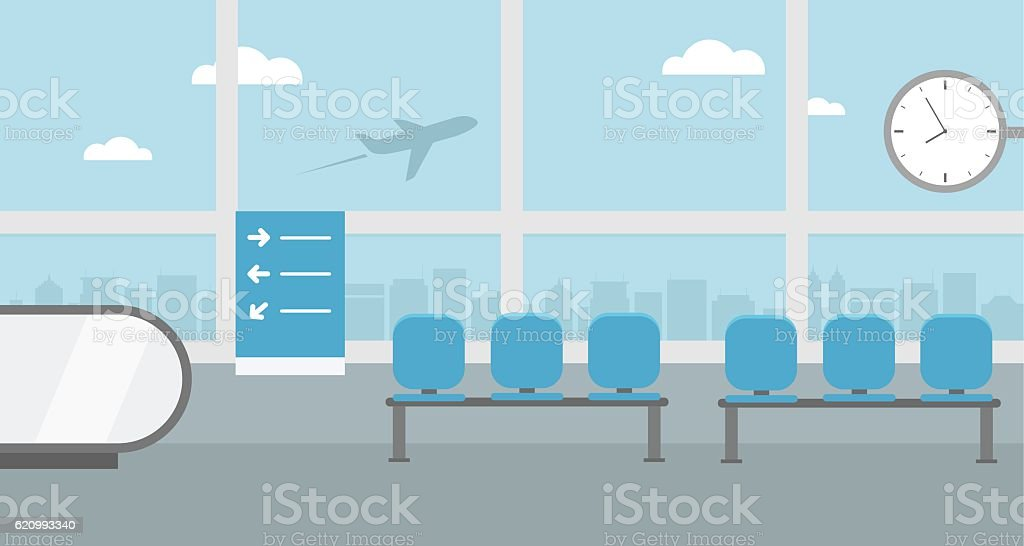 Background of hall at airport terminal. - ilustración de arte vectorial