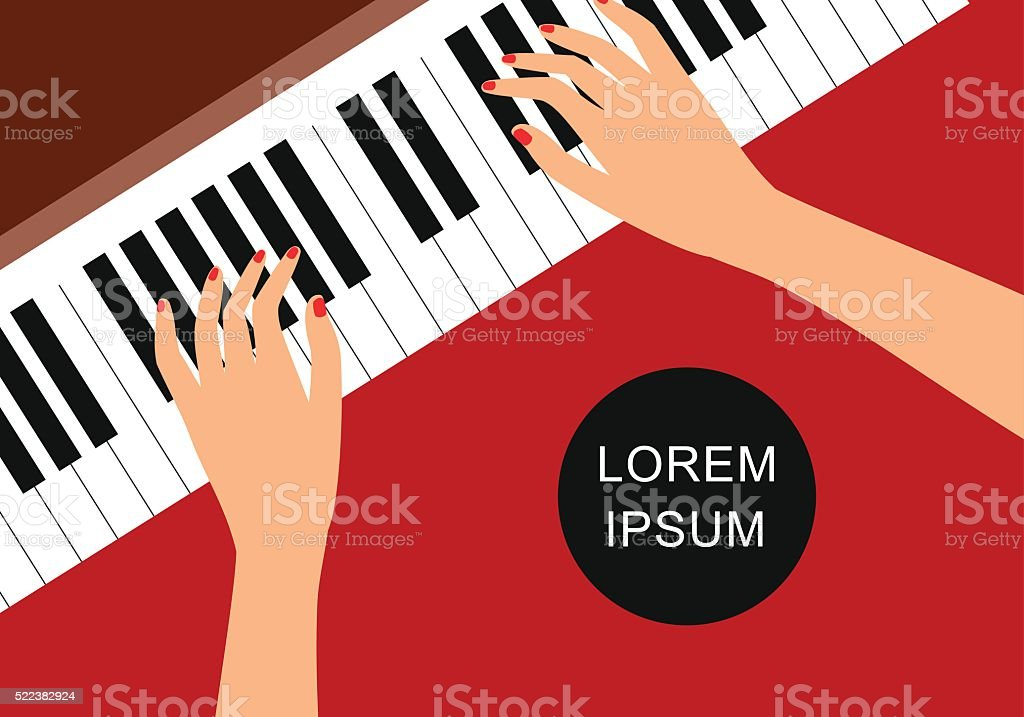 Background Of Hands On Piano Keys Stock Vector Art More Images Of