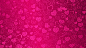 Background of big and small hearts with swirls in pink colors. Vector illustrations. EPS10 and JPG are available