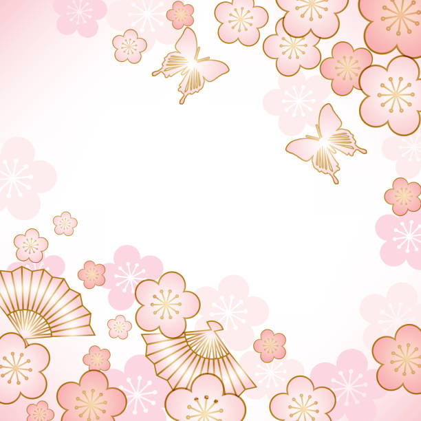 Background of Japanese style Japanese, classical, plum blossom stock illustrations