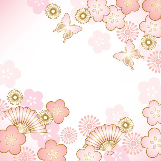 Background of Japanese style Japanese, classical, plum blossom stock illustrations