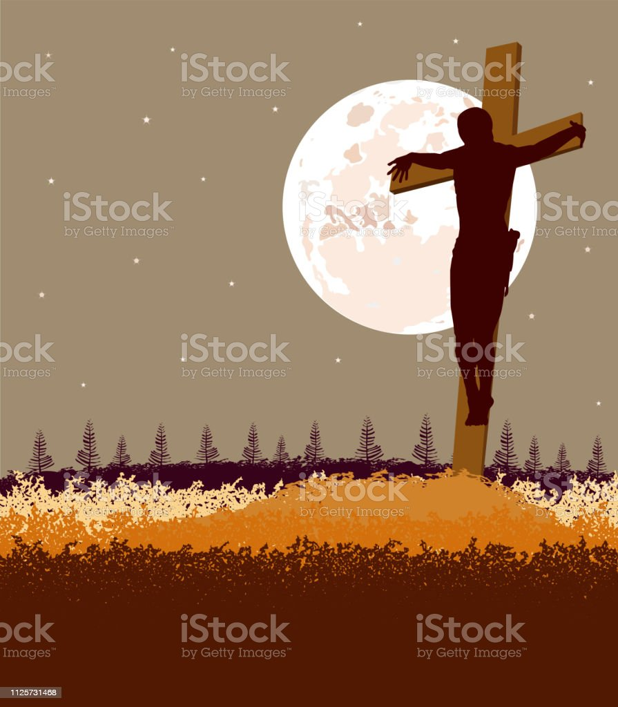 Background of Jesus fromt the cross, with moon back