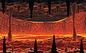 Background of landscape - infernal hot cave with lava.