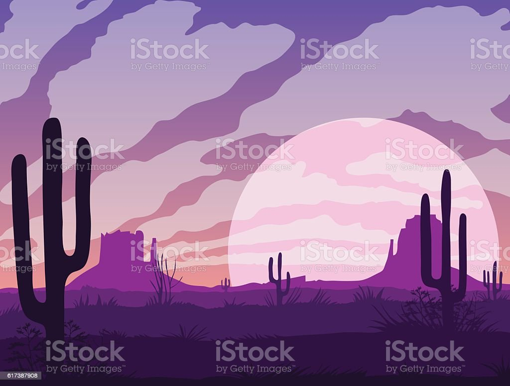 Background of landscape with desert and cactus vector art illustration