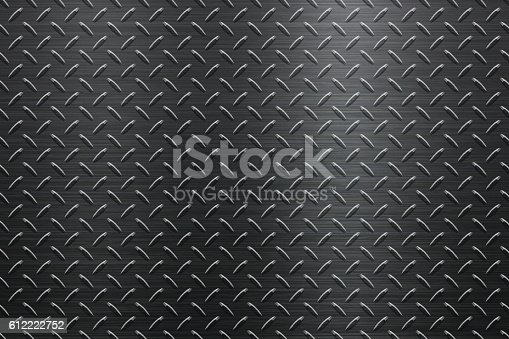 Background of metal diamond plate in black color can be used for design.