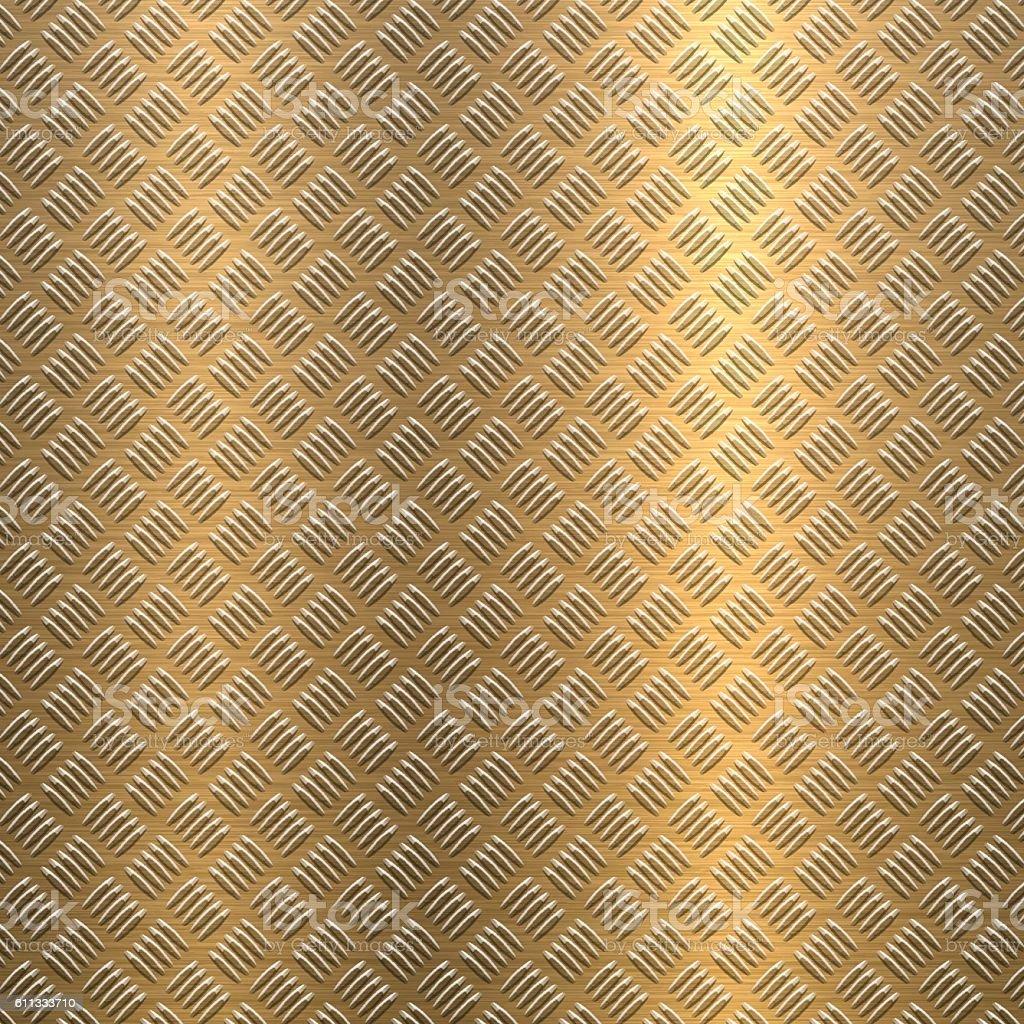 Background of Metal Diamond Plate in Bronze Color vector art illustration