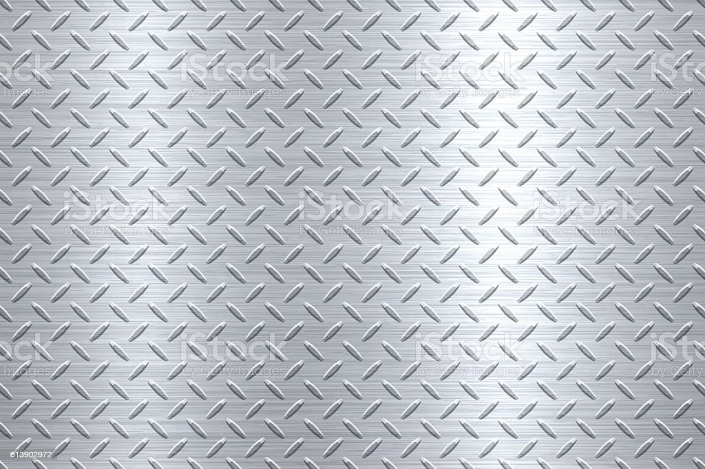 Background of Metal Diamond Plate in Silver Color – Vektorgrafik