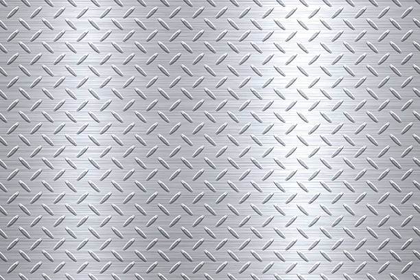 background of metal diamond plate in silver color - 금속 stock illustrations