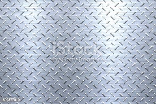 Background of metal diamond plate in silver color can be used for design.