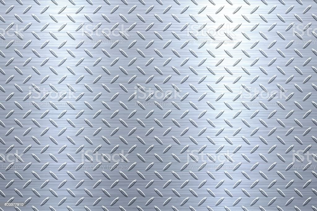 Background of Metal Diamond Plate in Silver Color vector art illustration