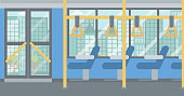 Background of modern empty city bus vector flat design illustration. Horizontal layout.