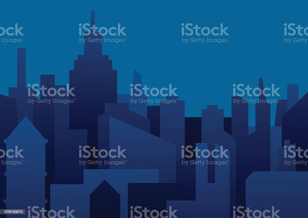Background of night city in dark blue tones vector art illustration