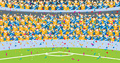 Background of people jumping in the grandstands of a stadium dressed in blue and yellow shirts with confetti falling on the soccer field.
